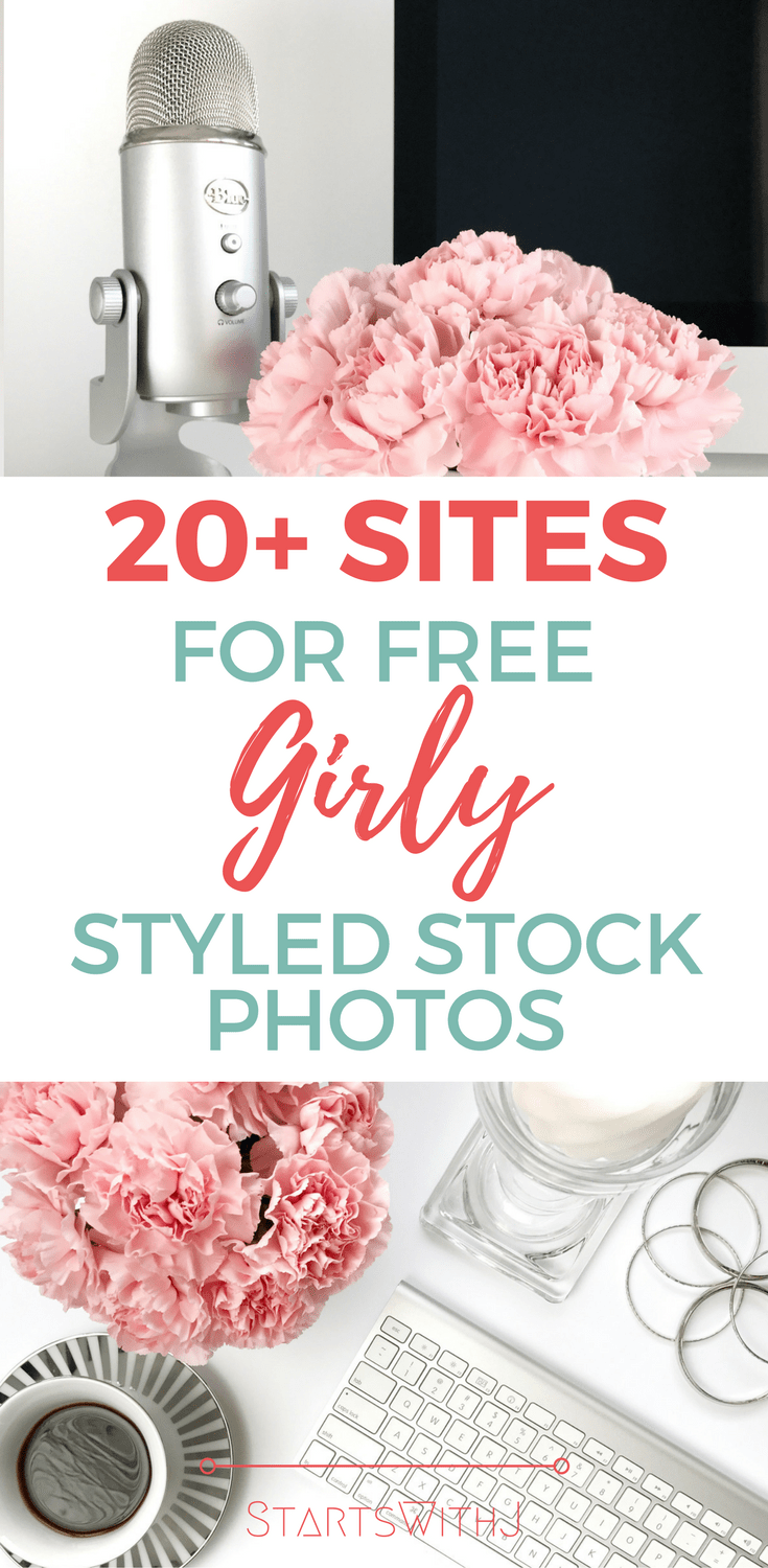 This blog post gives you over 20 websites that have feminine styled stock photos - all for free! I'm going to start signing up now!