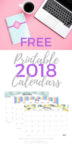 These free colourful calendars will brighten up my desk space! #calendar #freeprintable #printable #2018